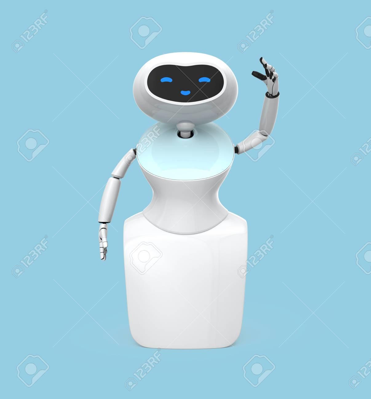 Vue De Face Du Robot Humanoide Avec Ecran Tactile Isole Sur Fond Bleu Clair Image De Rendu 3d Banque D Images Et Photos Libres De Droits Image 71429737