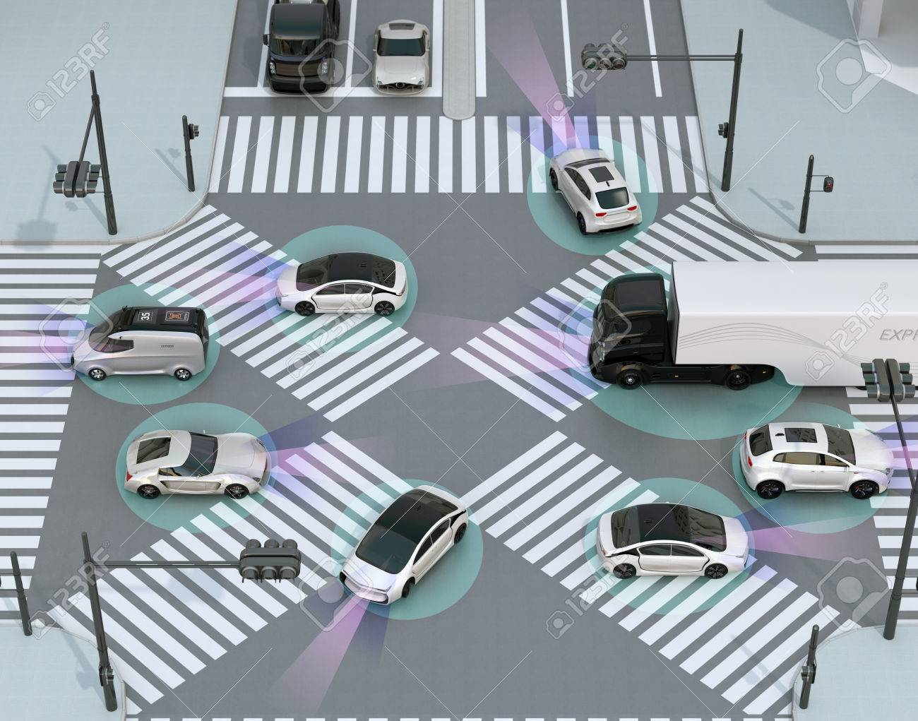 Smooth traffic in crossroad. Concept for advantage autonomous technology. 3D rendering image. - 74538781