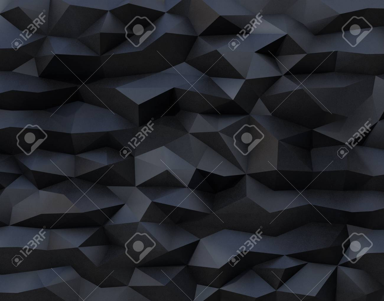 Abstract black background with triangulate polygon pattern. 3D rendering image. - 75926990