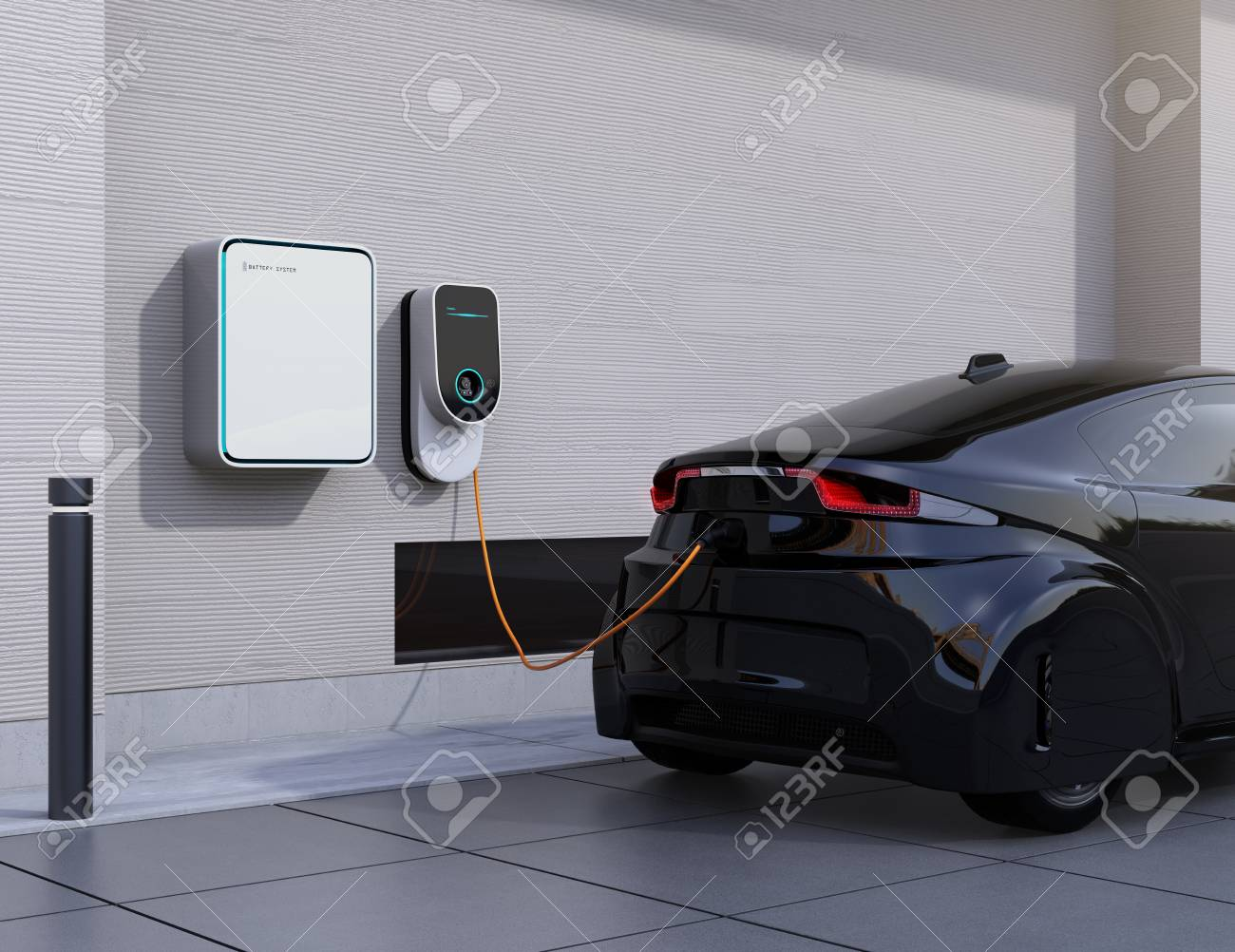 Electric vehicle charging station for home. 3D rendering image. - 76003117