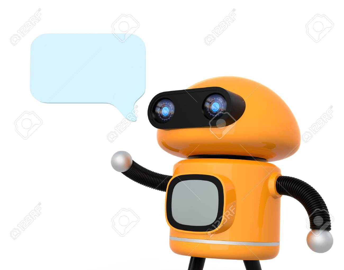 Cute orange robot with text bubble isolated on white background. 3D rendering image. - 77396736