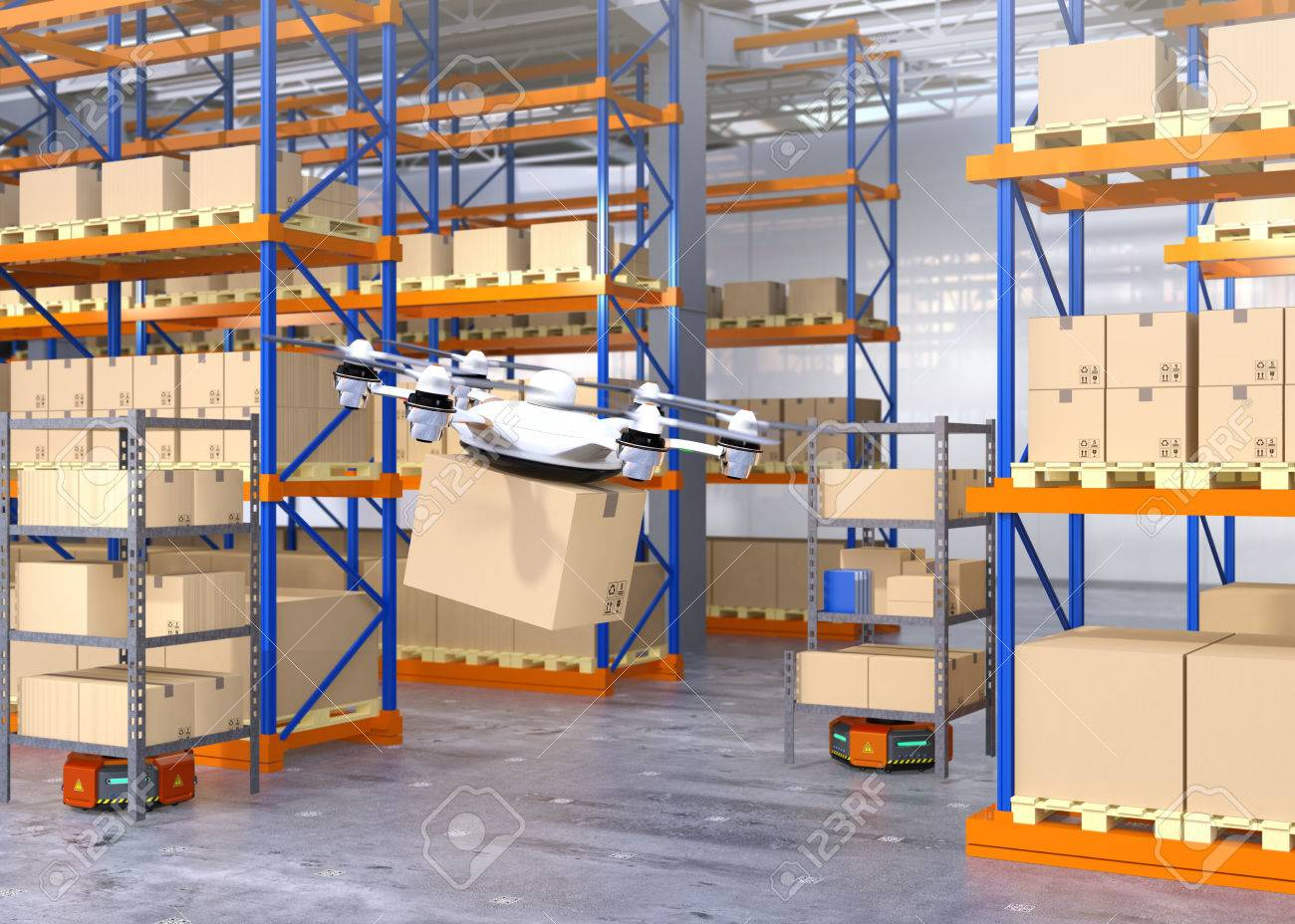 Drone and orange robots in modern warehouse  Advanced warehouse
