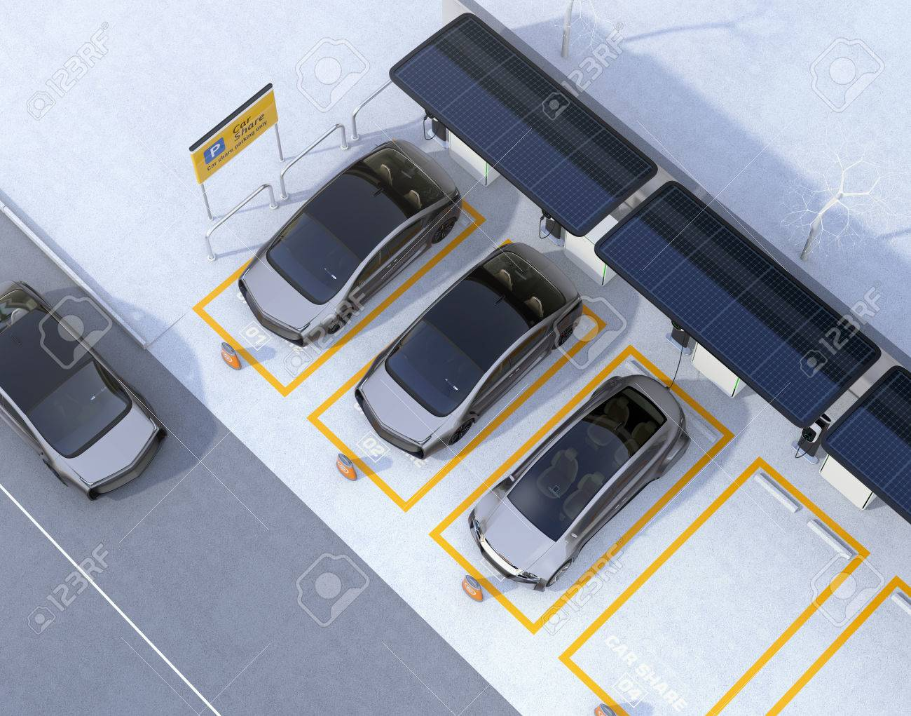 Aerial view of parking lot for car sharing business  Electric