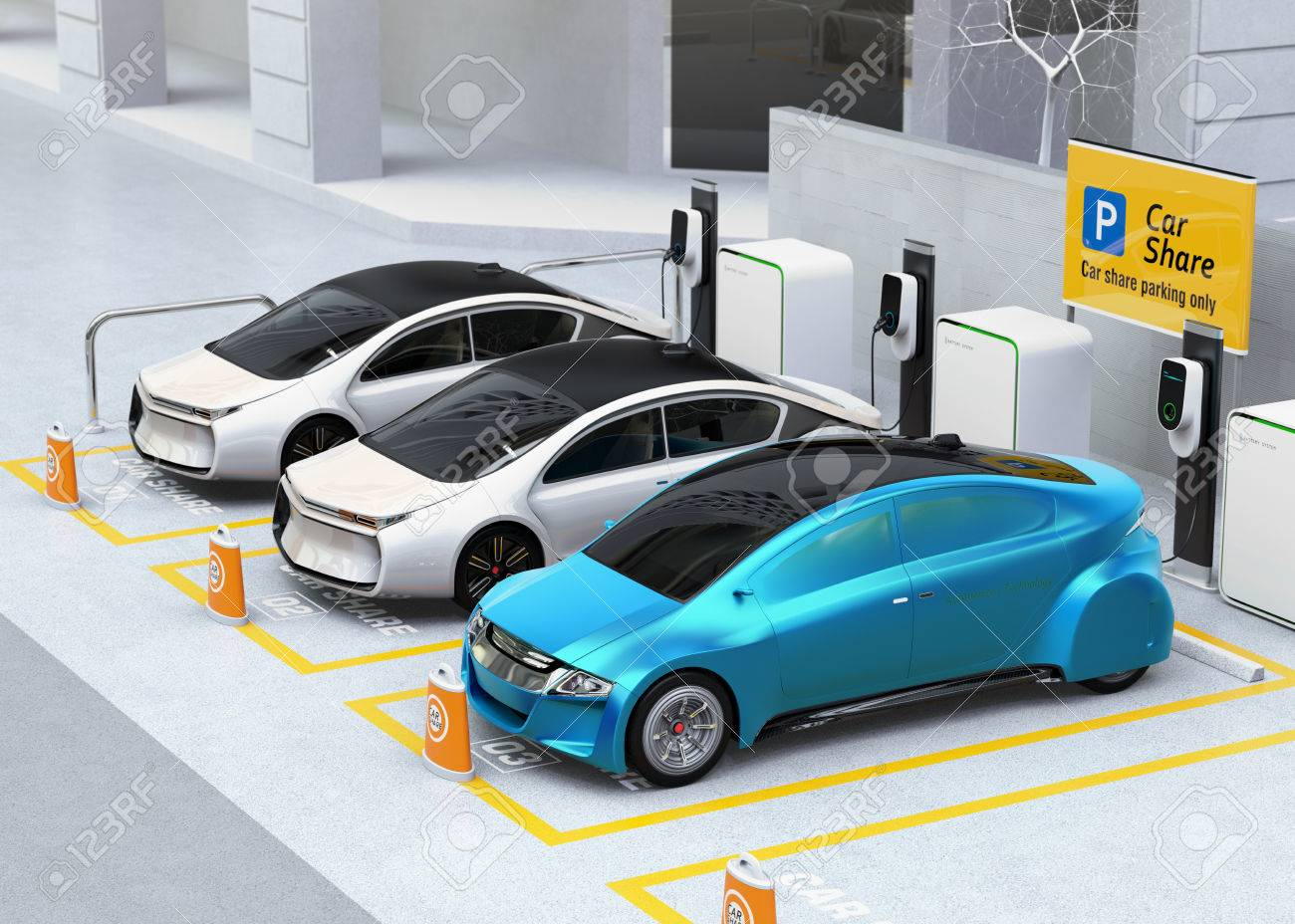 Autonomous vehicles in parking lot for sharing. Car sharing business concept. 3D rendering image. - 78084145