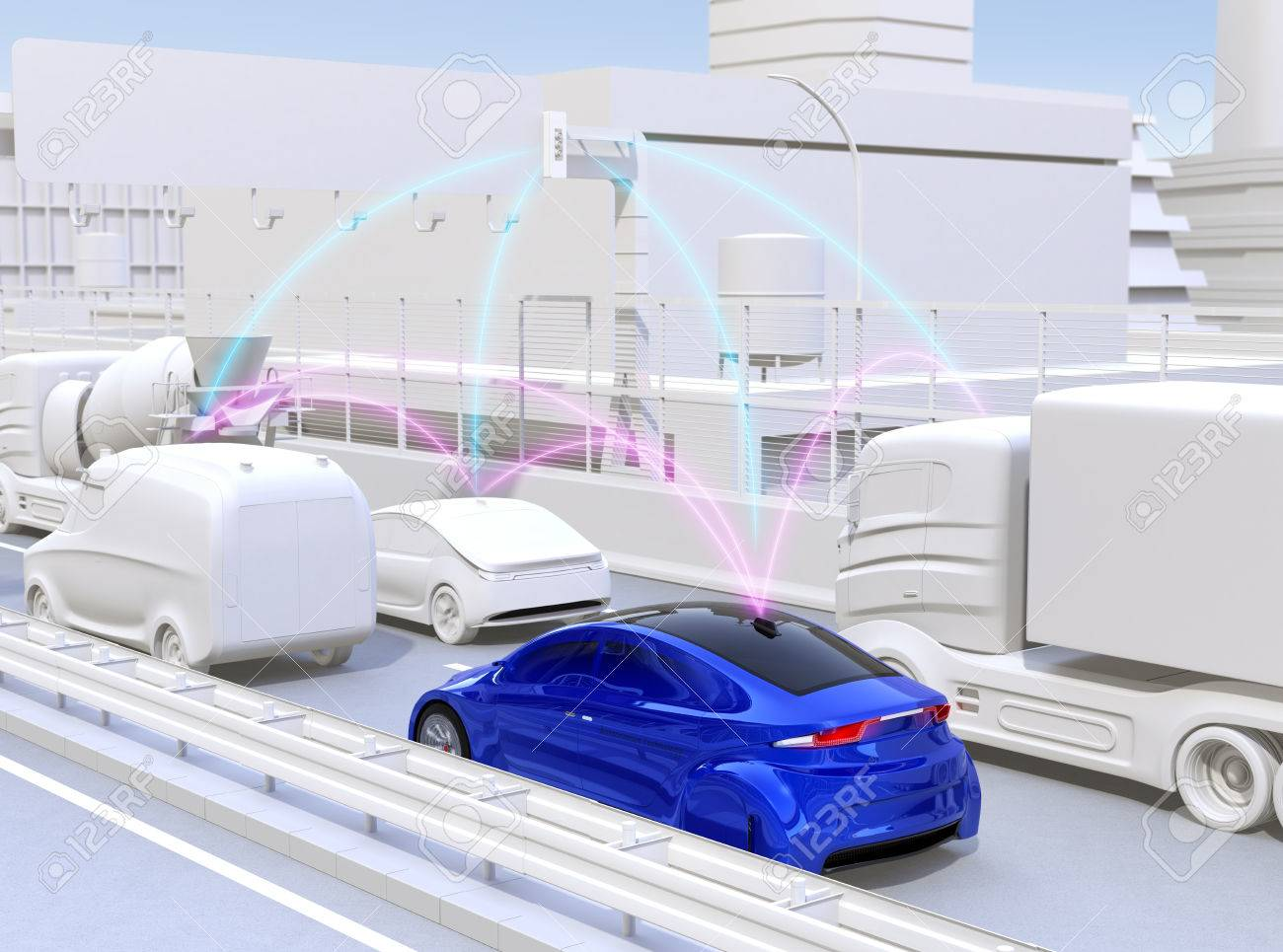 Cars sharing traffic information by connected car function. 3D rendering image. - 79003421