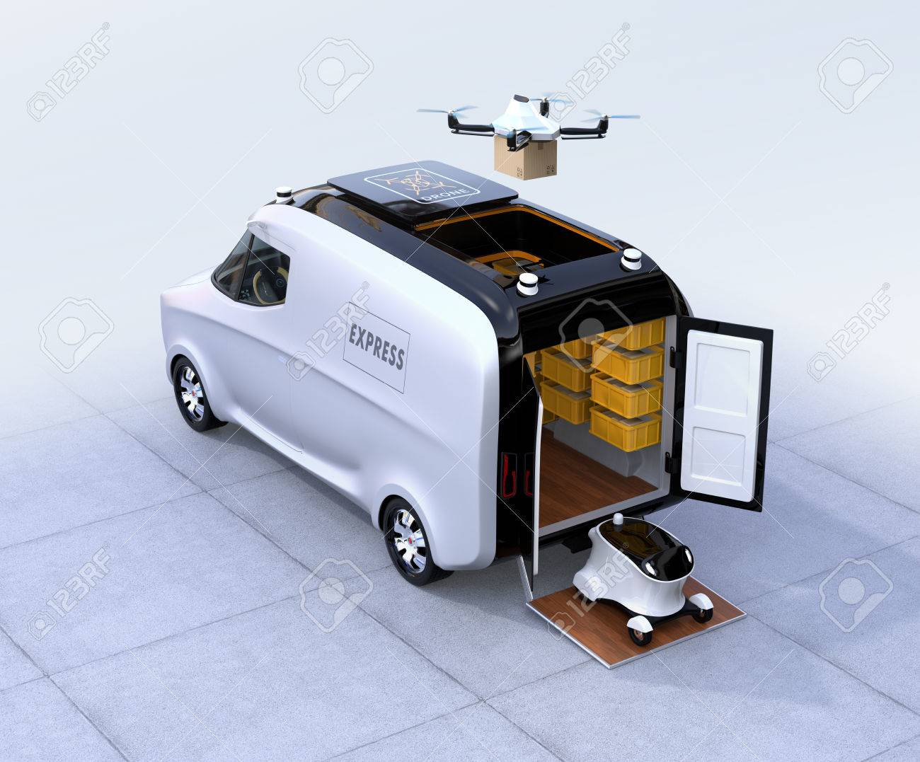 Self-driving van, drone and robot. Automatic delivery system concept. 3D rendering image. - 81802779