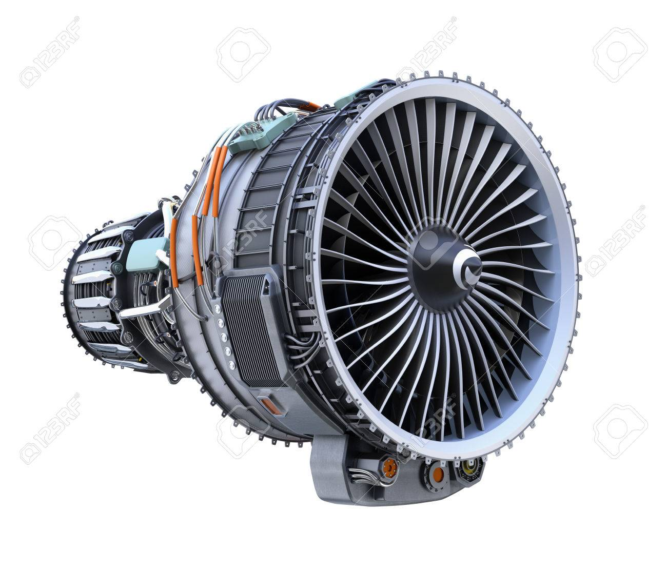 Turbofan jet engine isolated on white background  3D rendering
