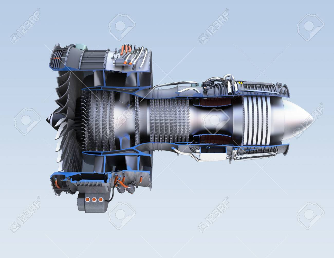 Cross section of turbofan jet engine isolated on light blue background