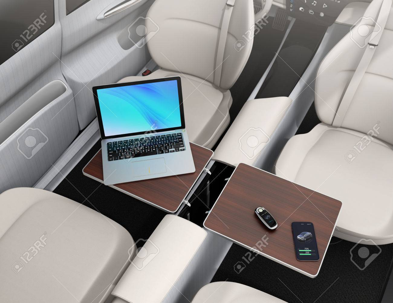 Self Driving Car Interior. Smart Car Key, Smartphone, Laptop.. Stock ...