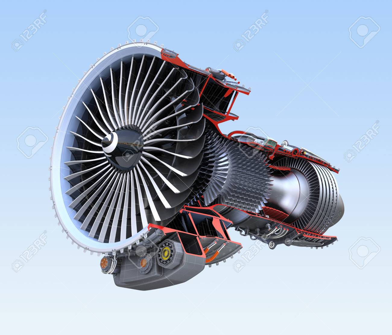 Turbofan jet engine's cross section wireframe isolated on blue