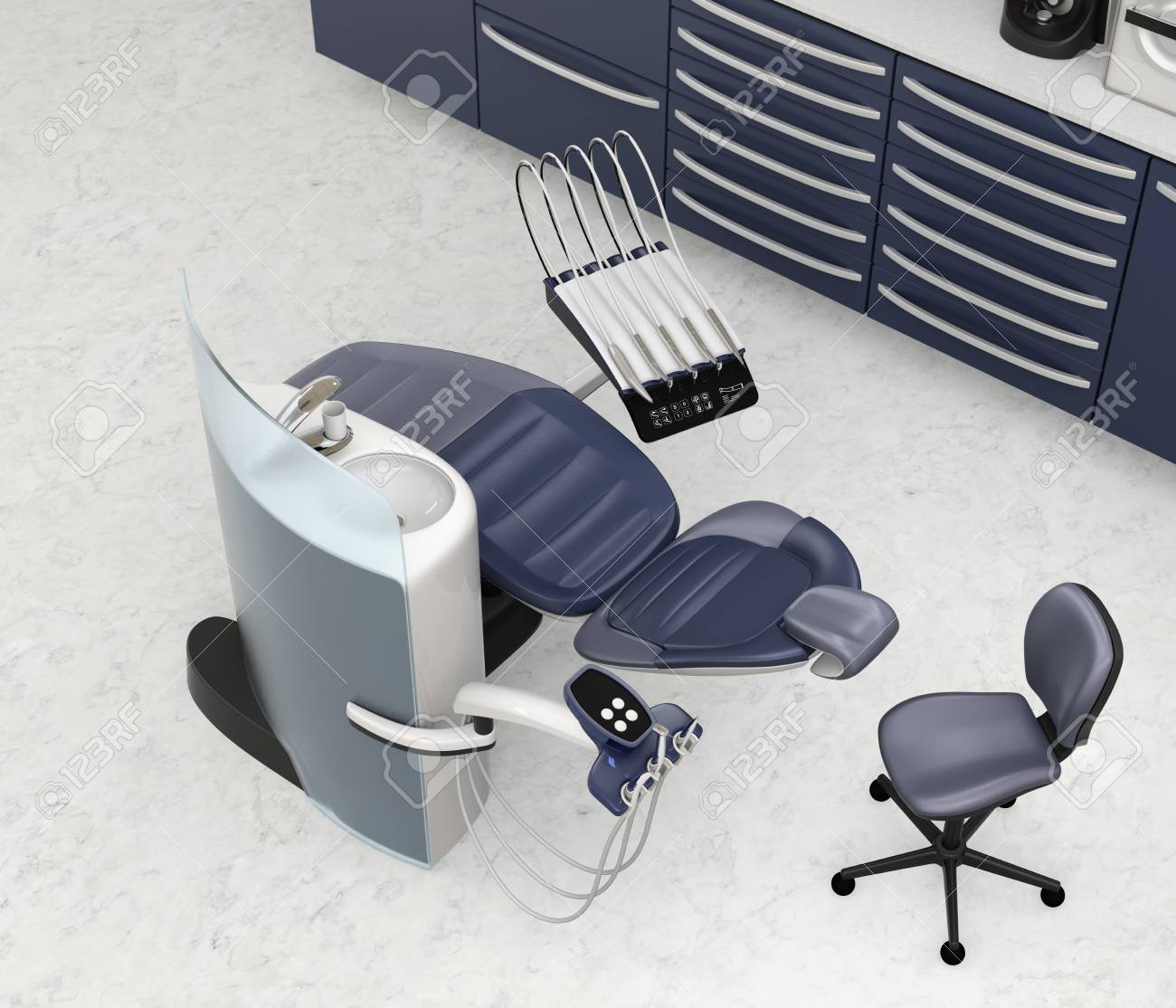 Armadio Per L Ufficio.Interni Dell Ufficio Dentale Con L Equipaggiamento E L Armadio Dell Unita Blu Metallizzata Immagine Di Rendering 3d