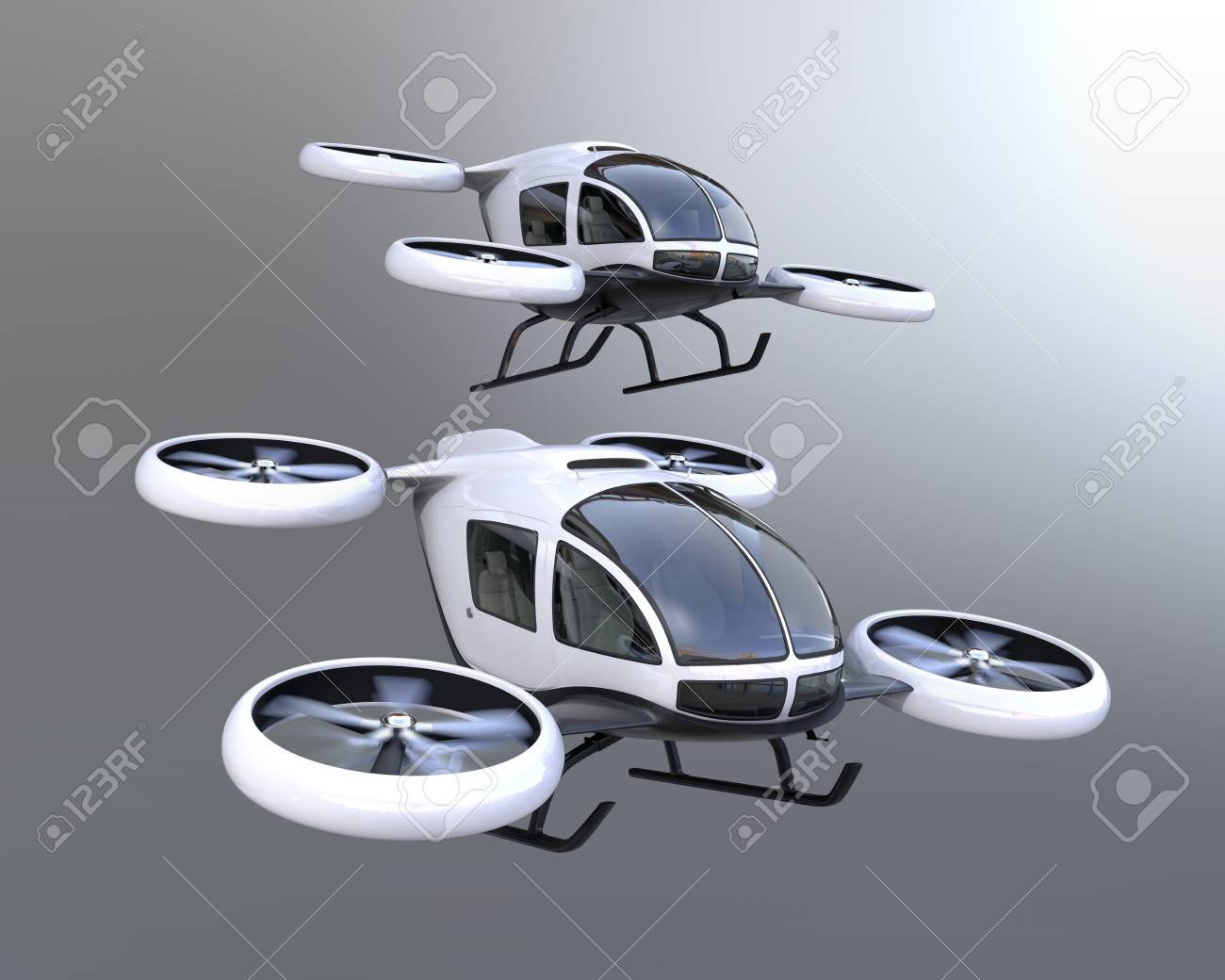 Two self-driving passenger drones flying in the sky. 3D rendering image. - 88292497