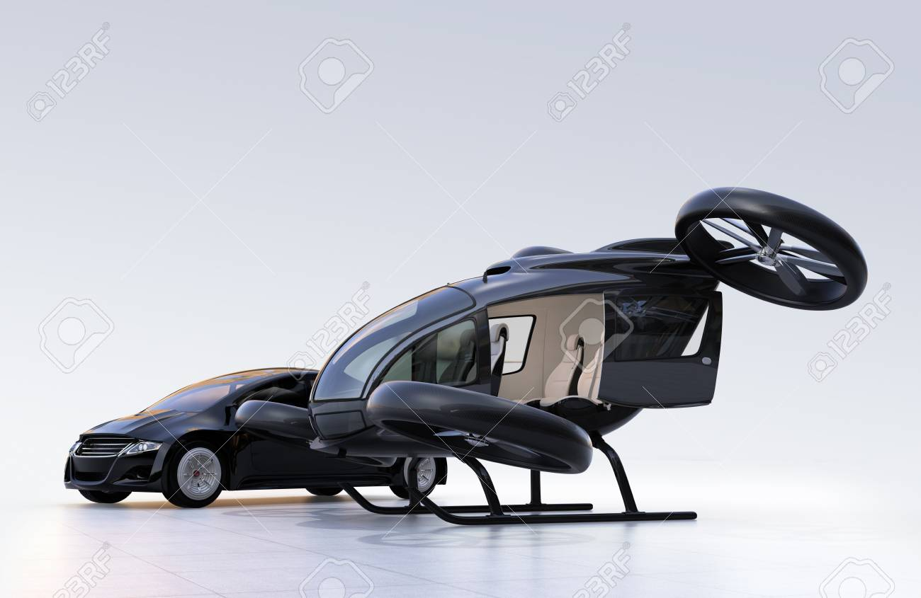 Self-driving car and passenger drone parking on the ground. 3D rendering image - 88292547