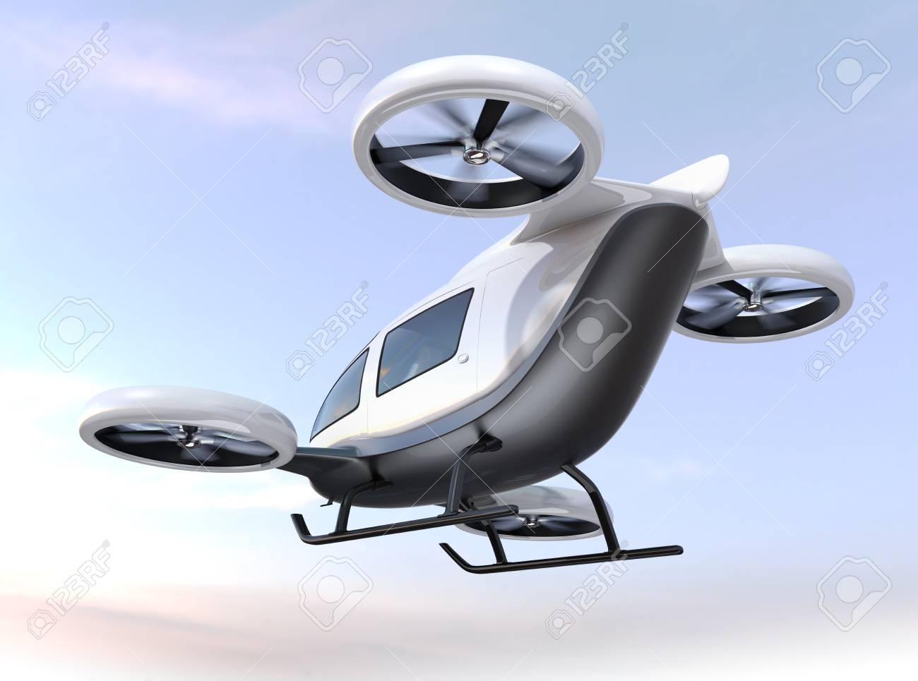 White self-driving passenger drone flying in the sky. 3D rendering image. - 88292576