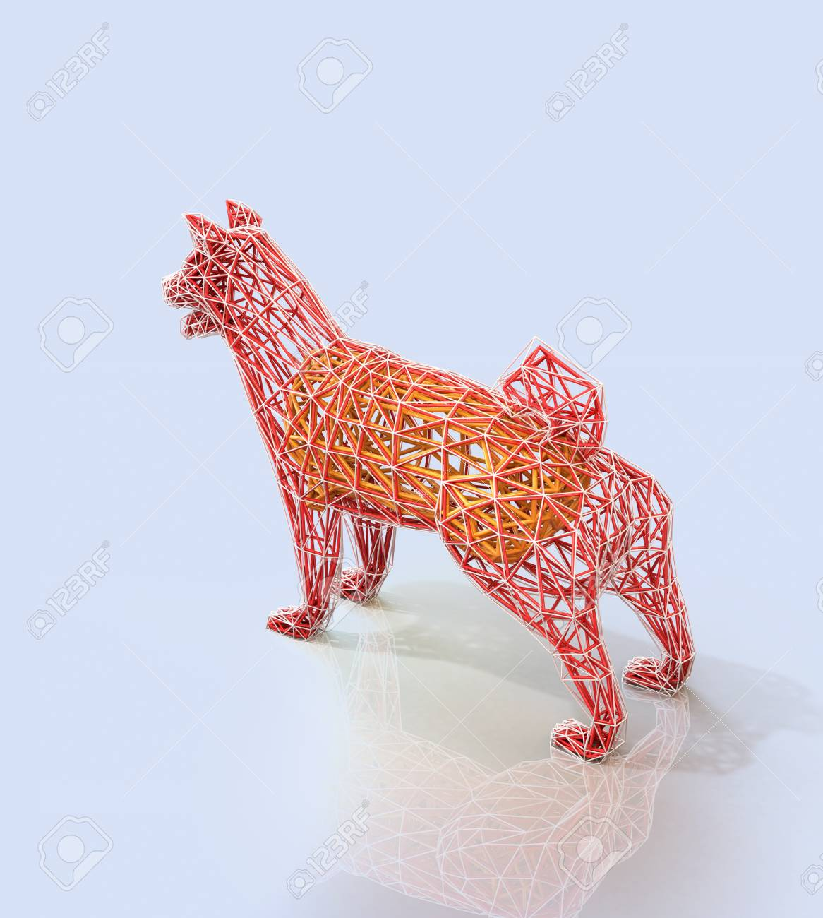 Rear View Of Red Dogs Wire Frame Shape In Low Polygon Style