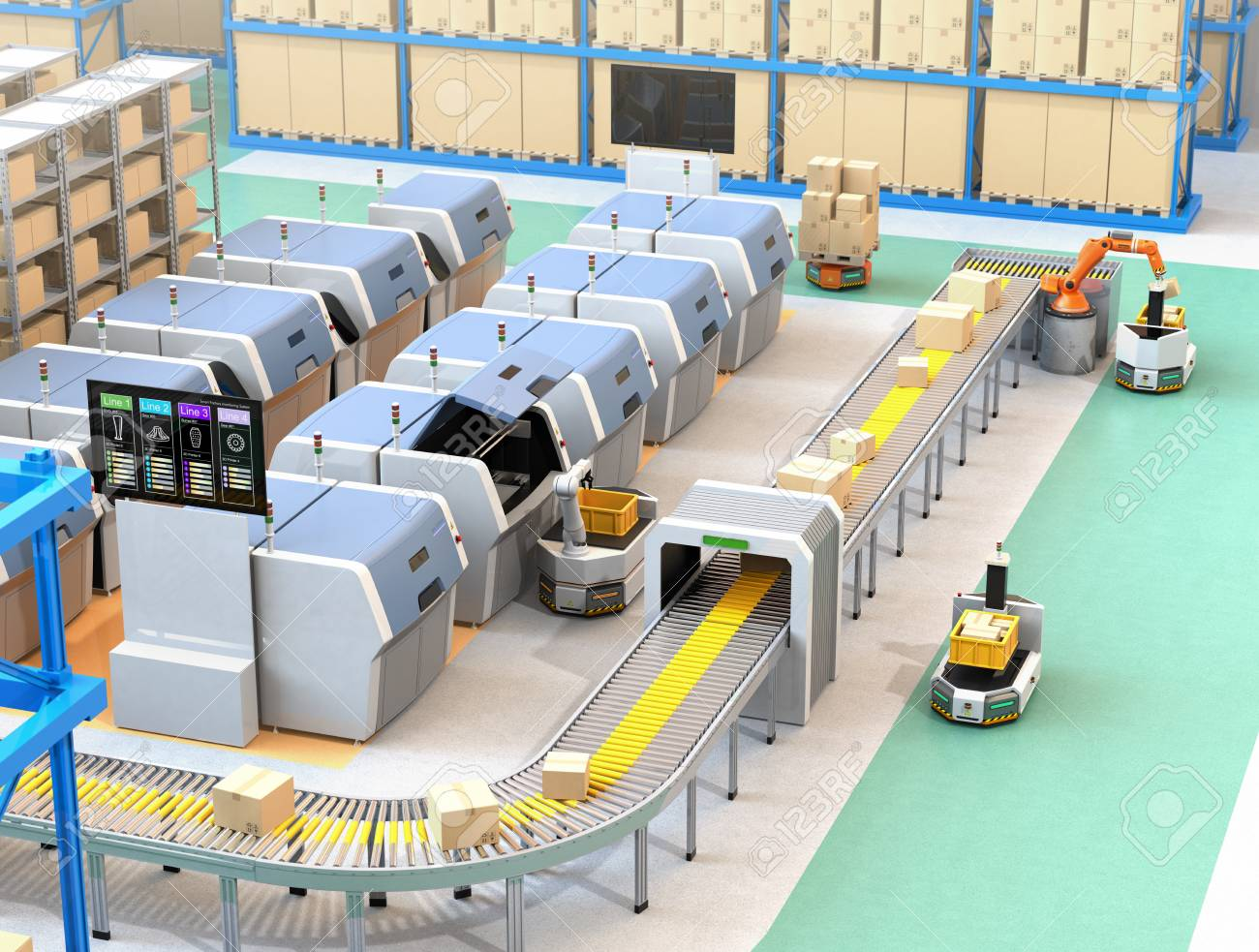 Smart factory equipped with AGV, robot carrier, 3D printers and robotic picking system. 3D rendering image. - 92781866