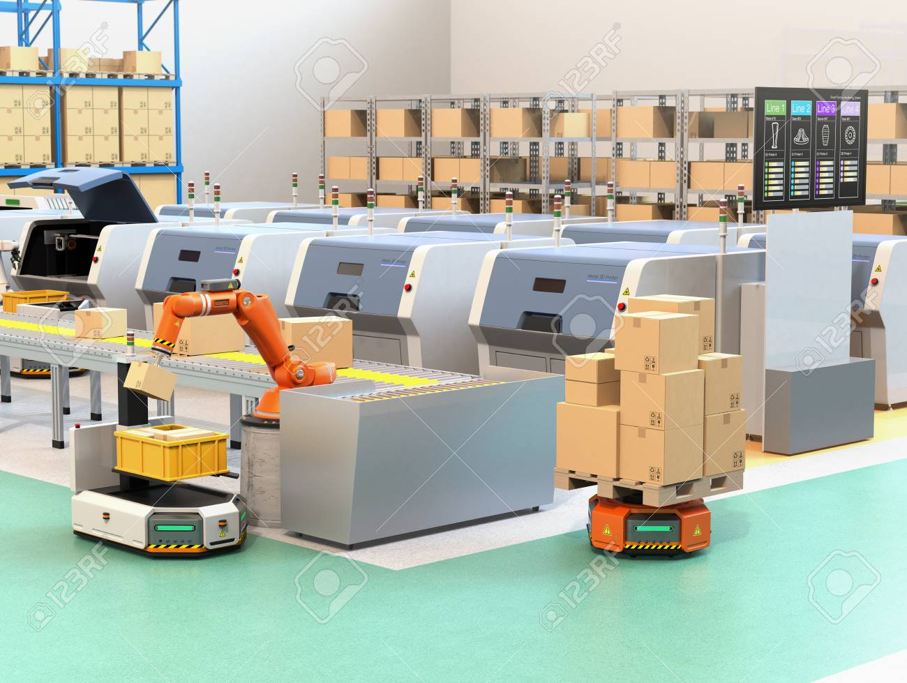 Robotic arm picking parcel from conveyor to AGV (Automatic guided vehicle). Monitor of the manufacture line showing lines' process information. 3D rendering image. - 92775413