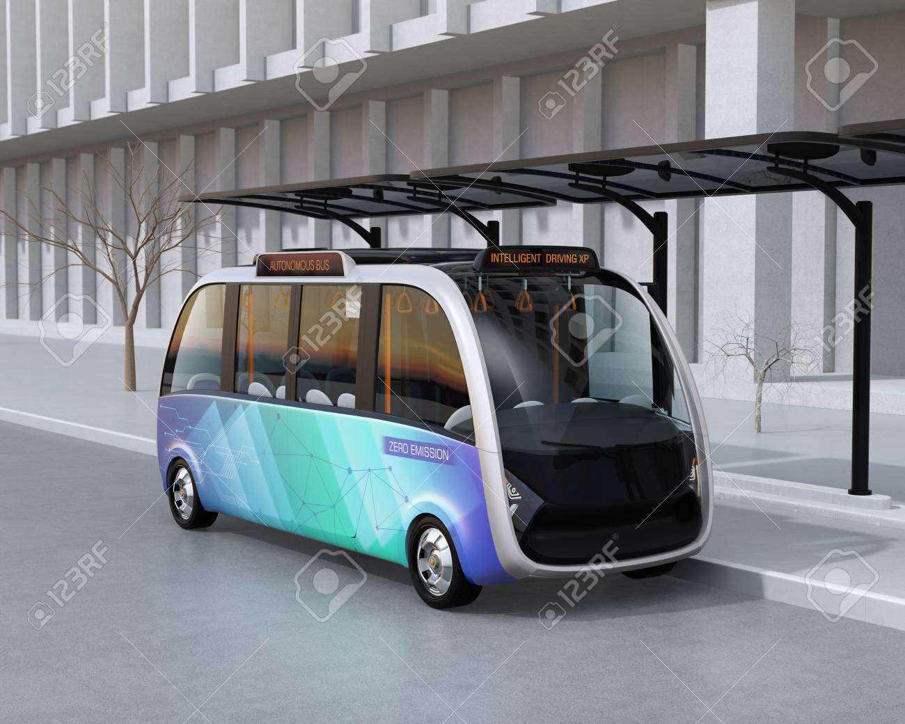 Self-driving shuttle bus waiting at bus station. The bus station equipped with solar panels for electric power. 3D rendering image. - 94347886