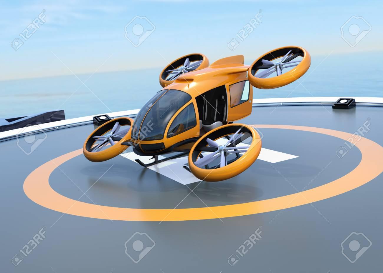 Orange self-driving passenger drone takeoff from helipad. 3D rendering image. - 99049809