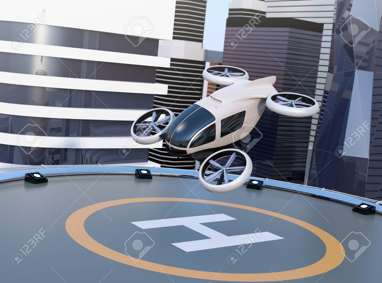 White self-driving passenger drone takeoff and landing on the helipad. 3D rendering image. - 99020047