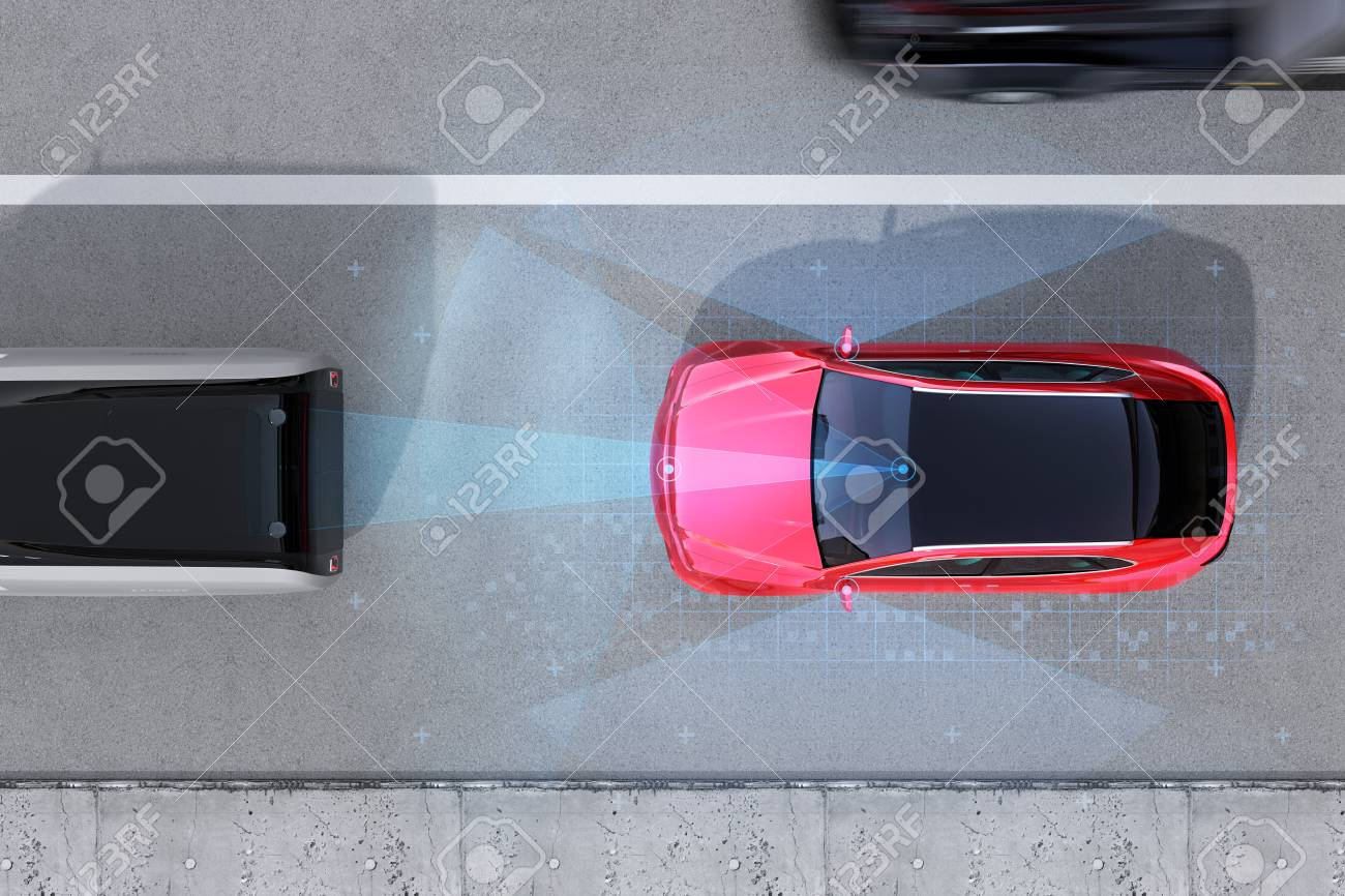 Aerial view of red SUV emergency braking to avoid car crash. Automatic Emergency Braking (Emergency brake system) concept. 3D rendering image. - 101894518