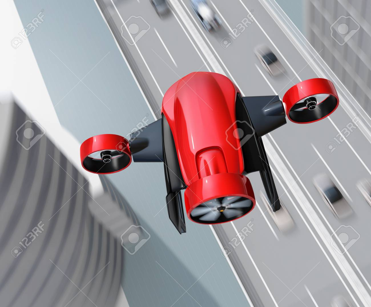 Top view of red VTOL drone carrying delivery packages flying