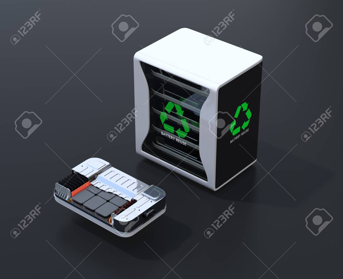 Reused electric vehicle batteries component system with EV battery package cutaway view. Black background. EV batteries recycle concept. 3D rendering image. - 110572604