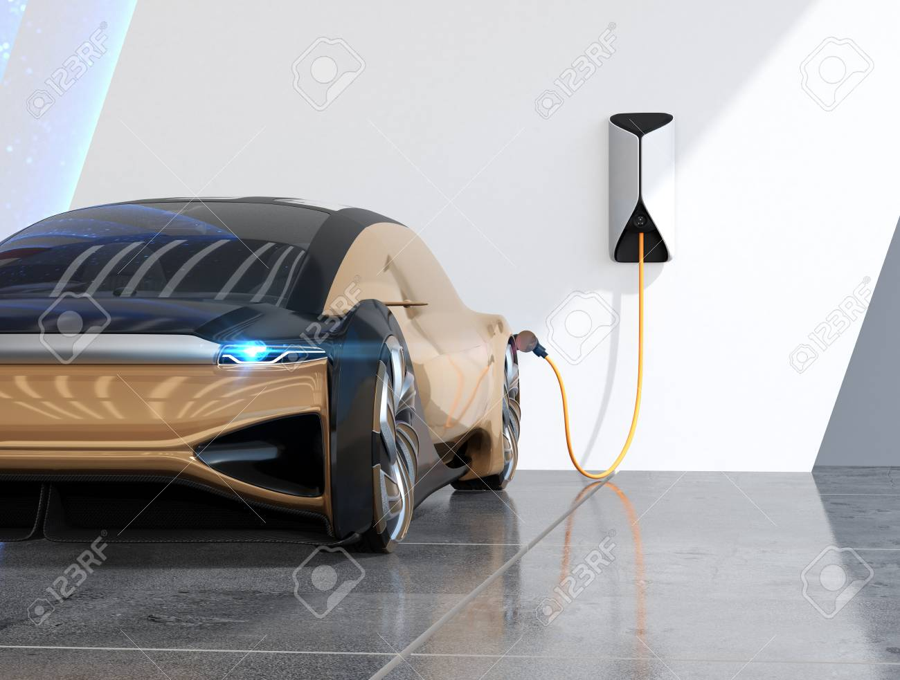 Close-up metallic gold electric car charging in charging station. 3D rendering image. - 119720568