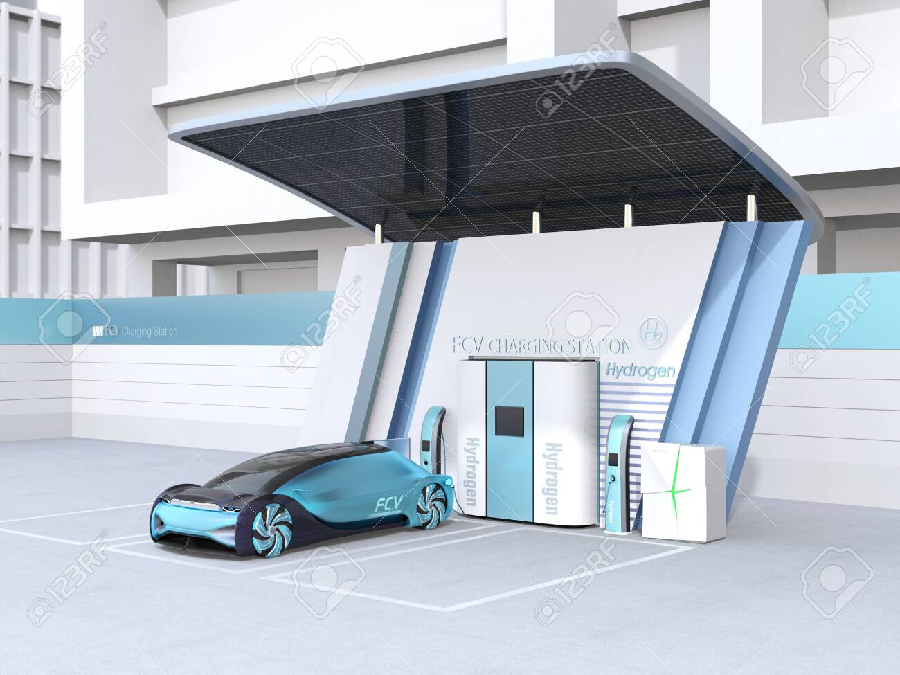 Fuel Cell powered autonomous car filling gas in Fuel Cell Hydrogen Station equipped with solar panels. 3D rendering image. - 123796437