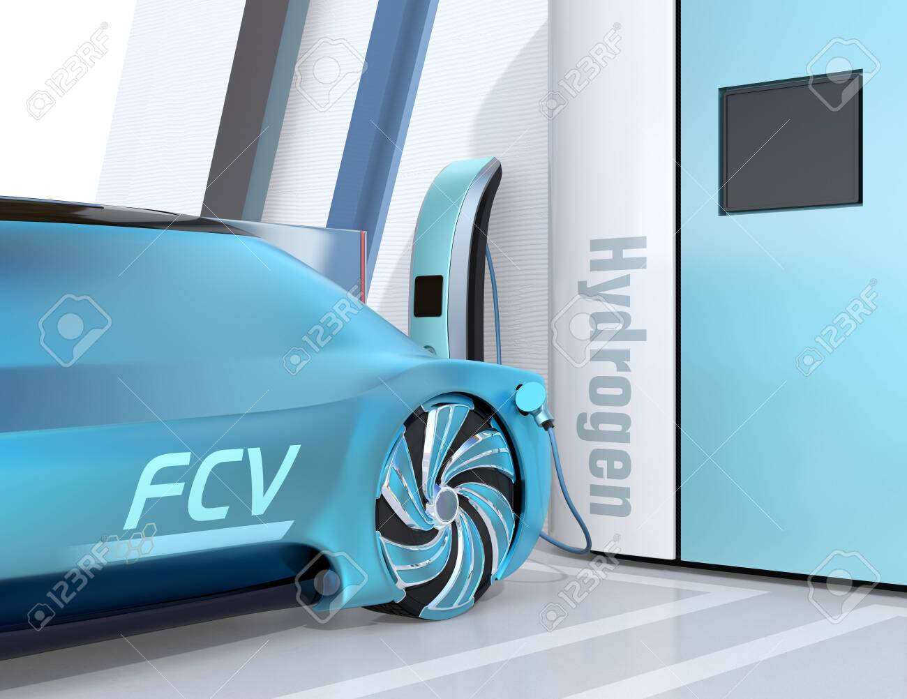 Close-up view of Fuel Cell powered autonomous car filling gas