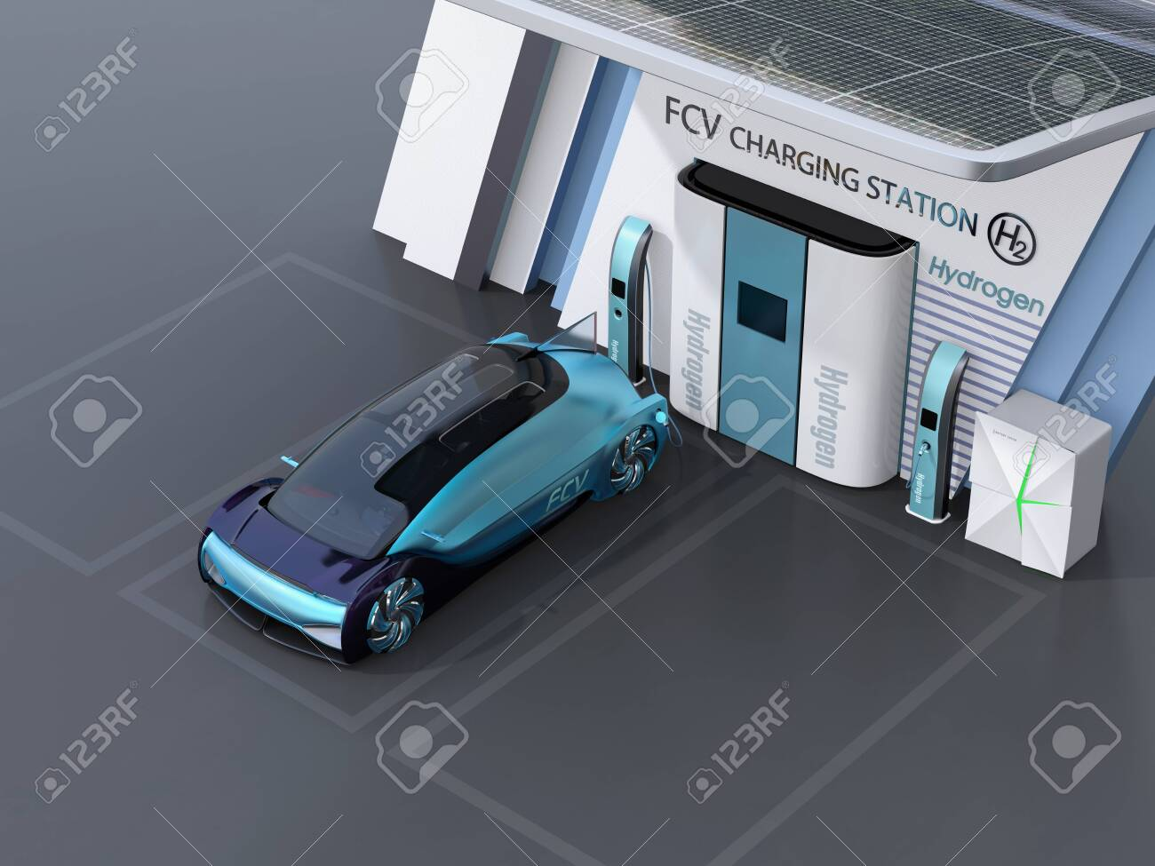 Fuel Cell powered autonomous car filling gas in Fuel Cell Hydrogen