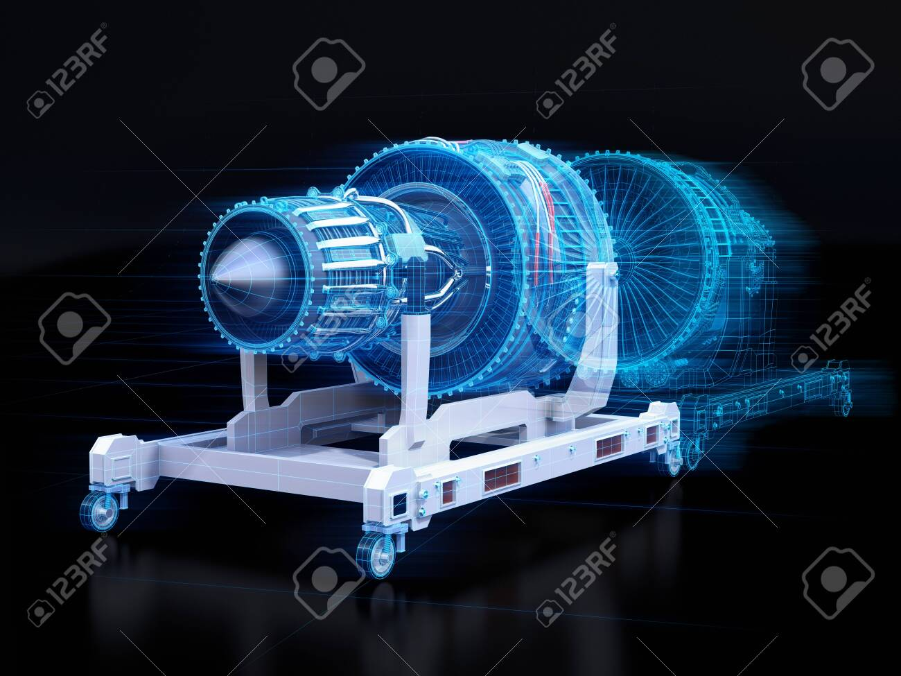 Wireframe rendering of turbojet engine and mirrored physical body on black background. Digital twin concept. 3D rendering image. - 128555186