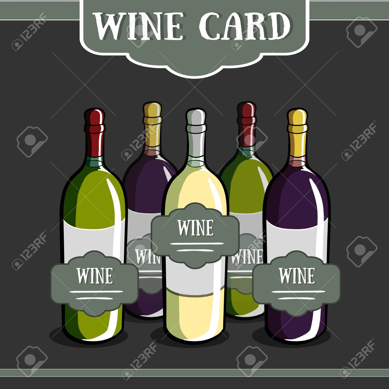template of a wine card with different hand drawn bottles vector
