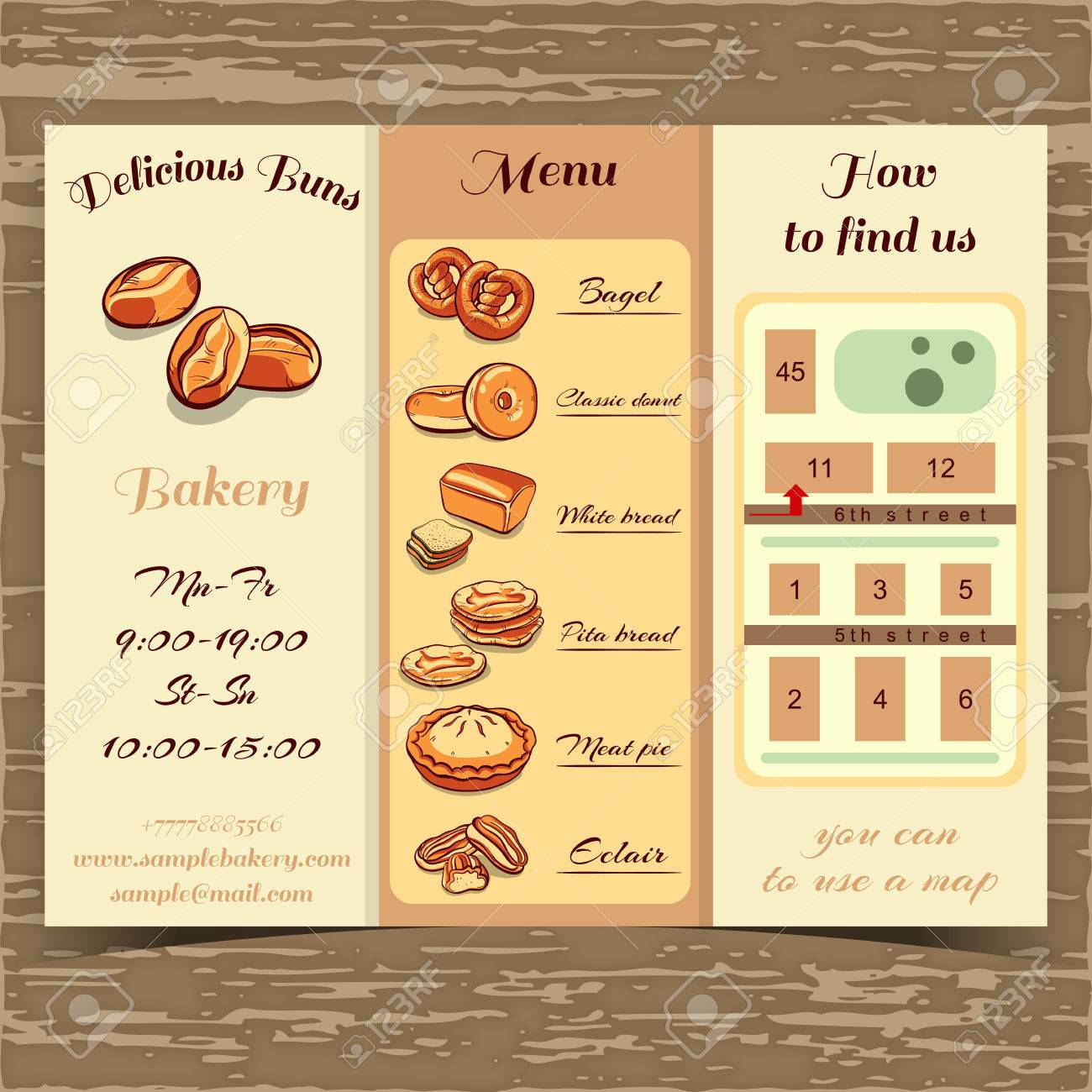 booklet for bakery with bread and buns booklet template with