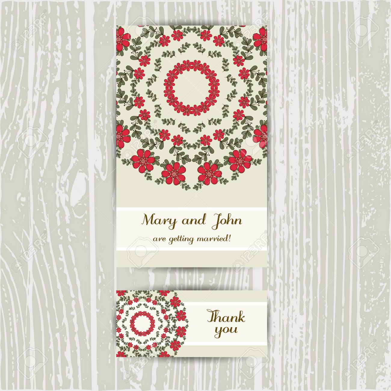 Set Of Cards With Hand Drawn Flowers Business Card And Invitation