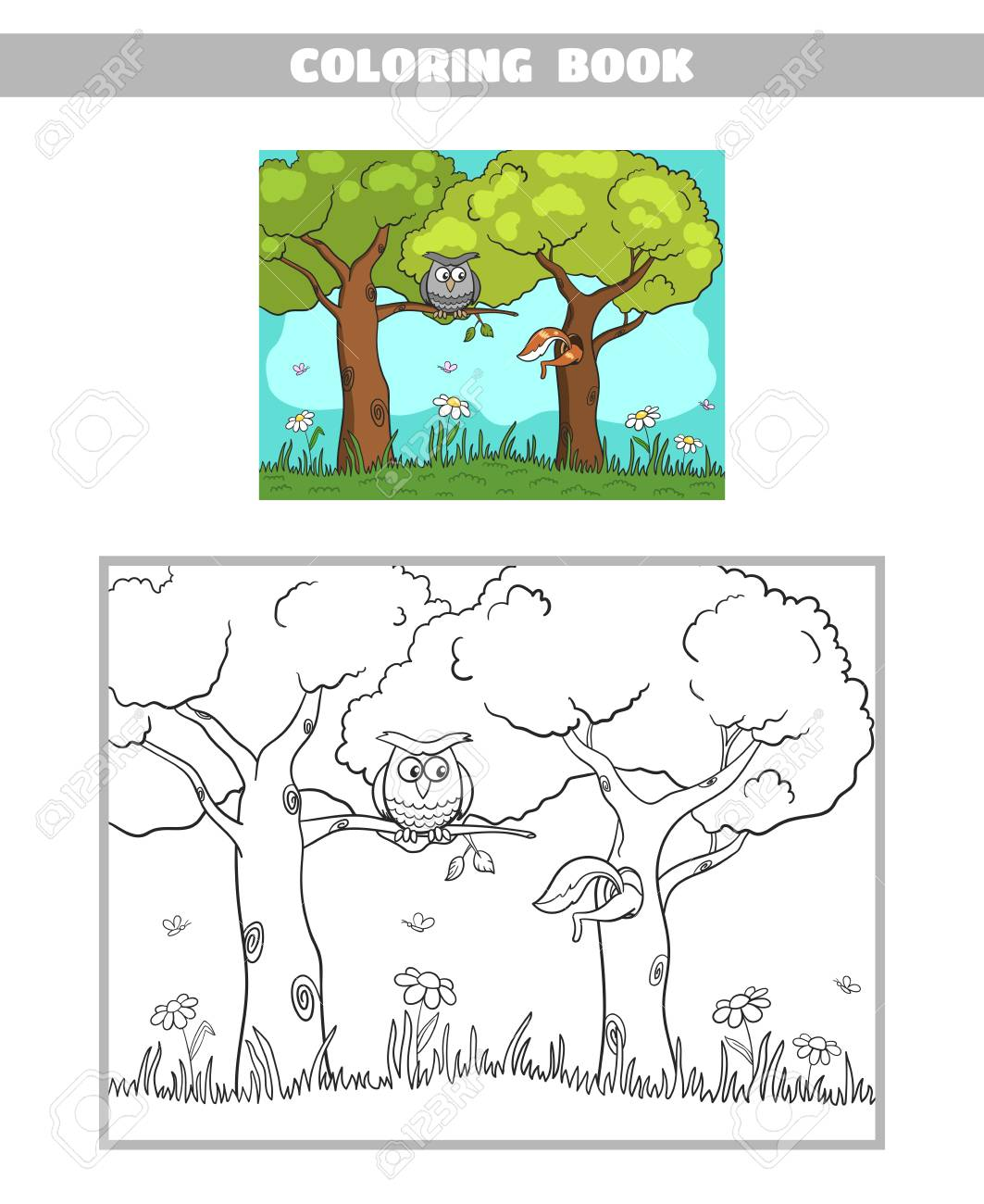 Page Of Coloring Book For Children With Forest Animals Stock Vector