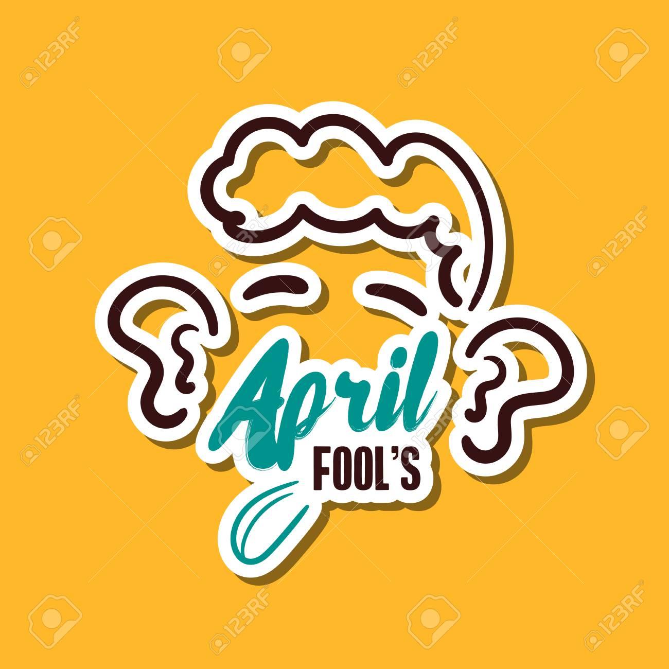 Funny sticker for 1st april vector illustration stock vector 98286668