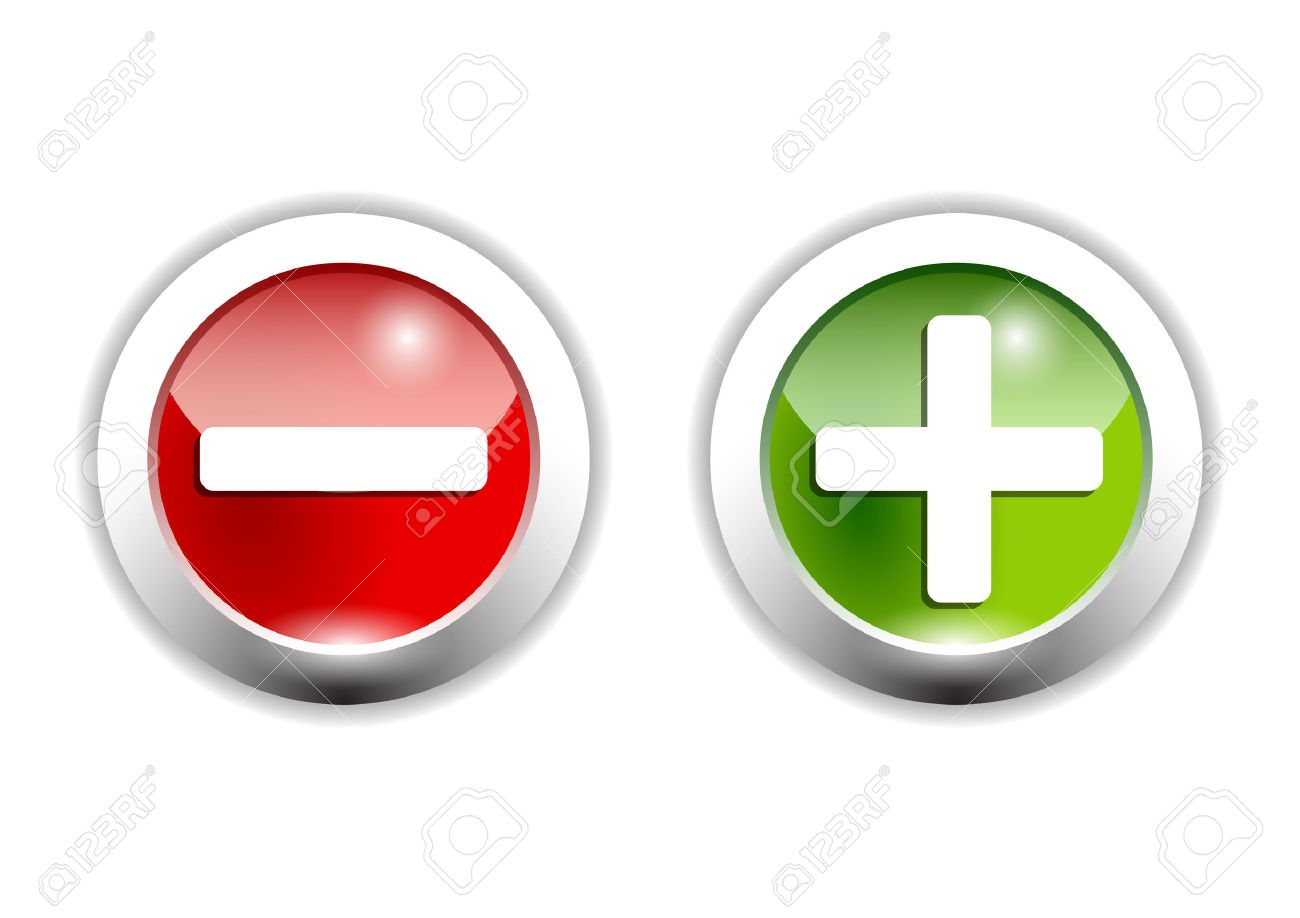 プラス、マイナス記号の緑と赤のボタンのイラスト素材・ベクタ - Image ...