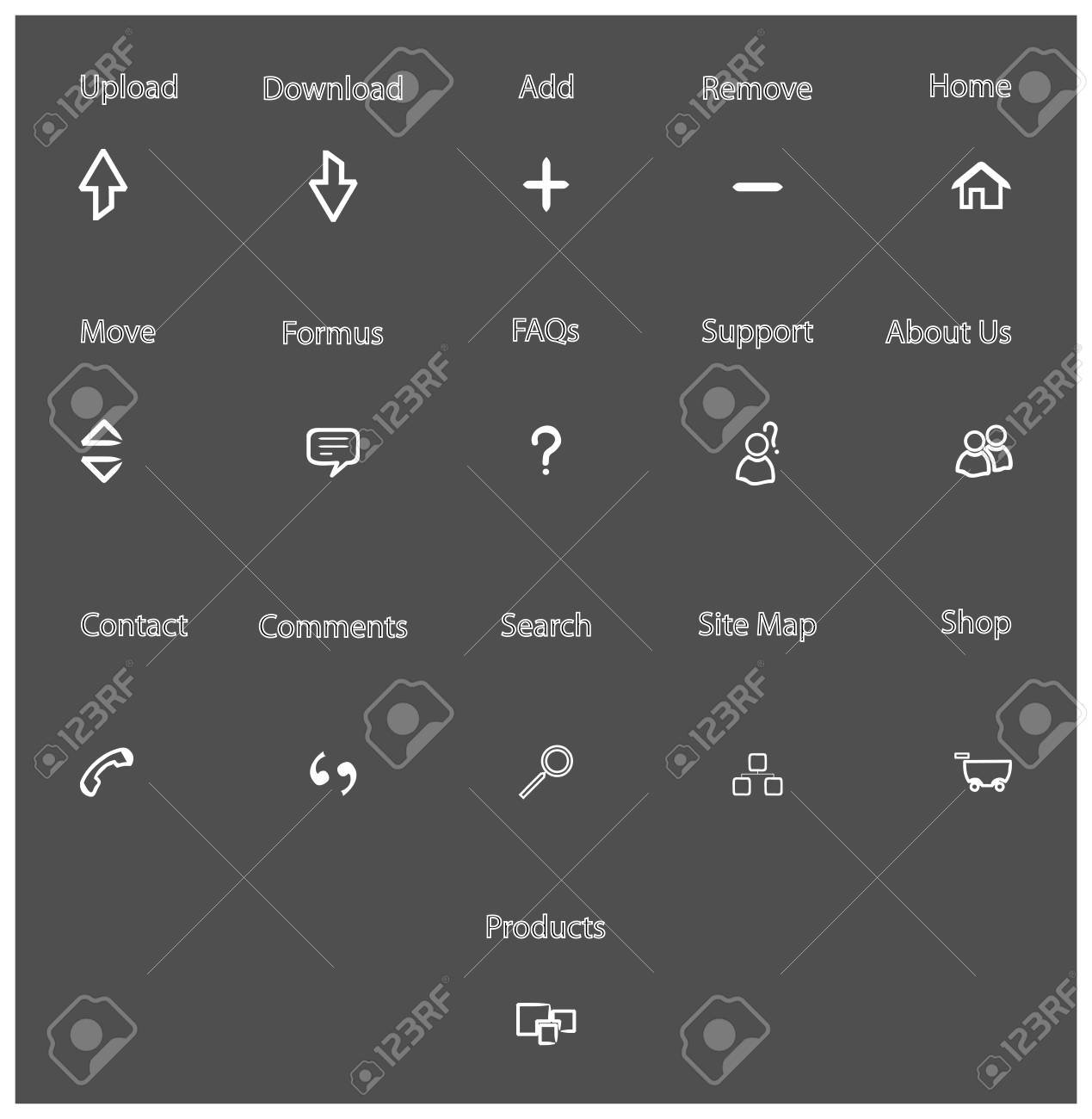 web icons on grey background Stock Vector - 6728149