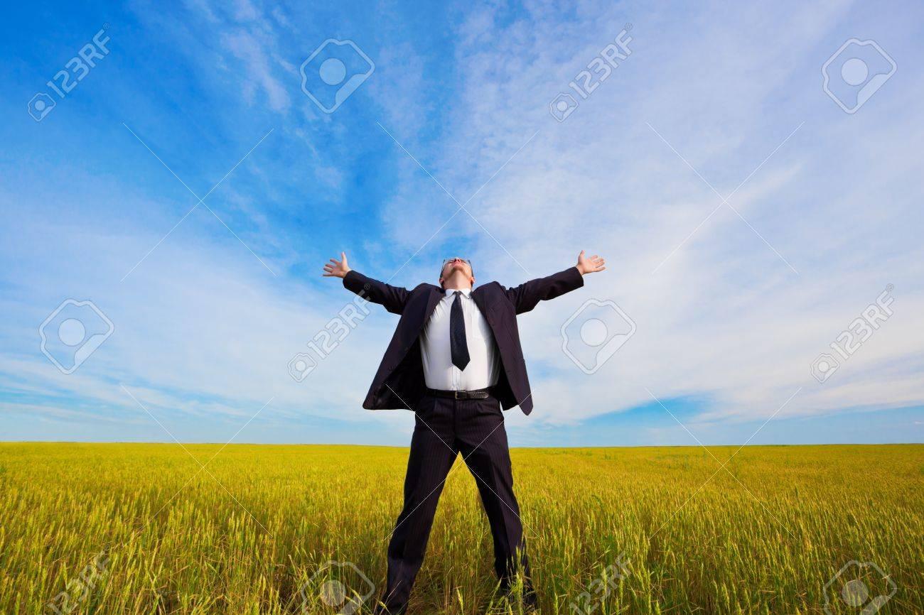 businessman on yellow field under blue skies - 7961867