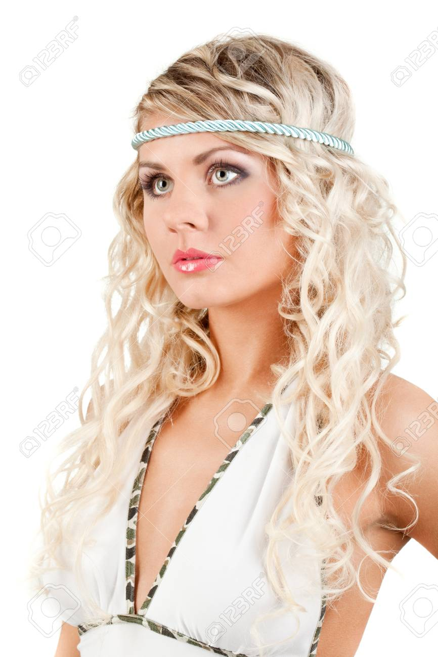 majestic woman portrait with headband, over white Stock Photo - 8255132