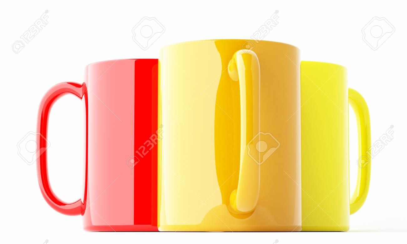 three rendered mugs isolated over white Stock Photo - 8671547