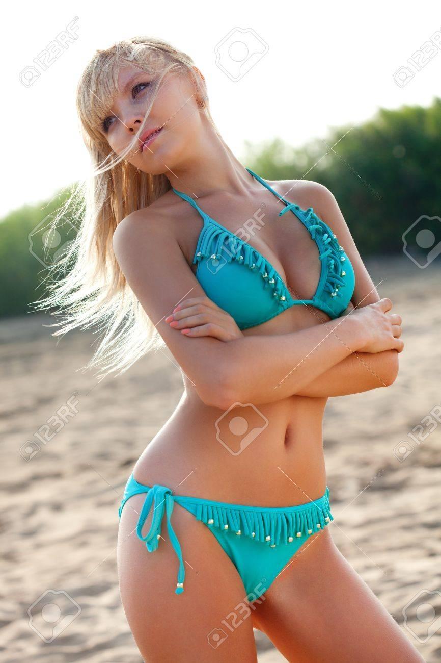 Blonde In Blue Bikini