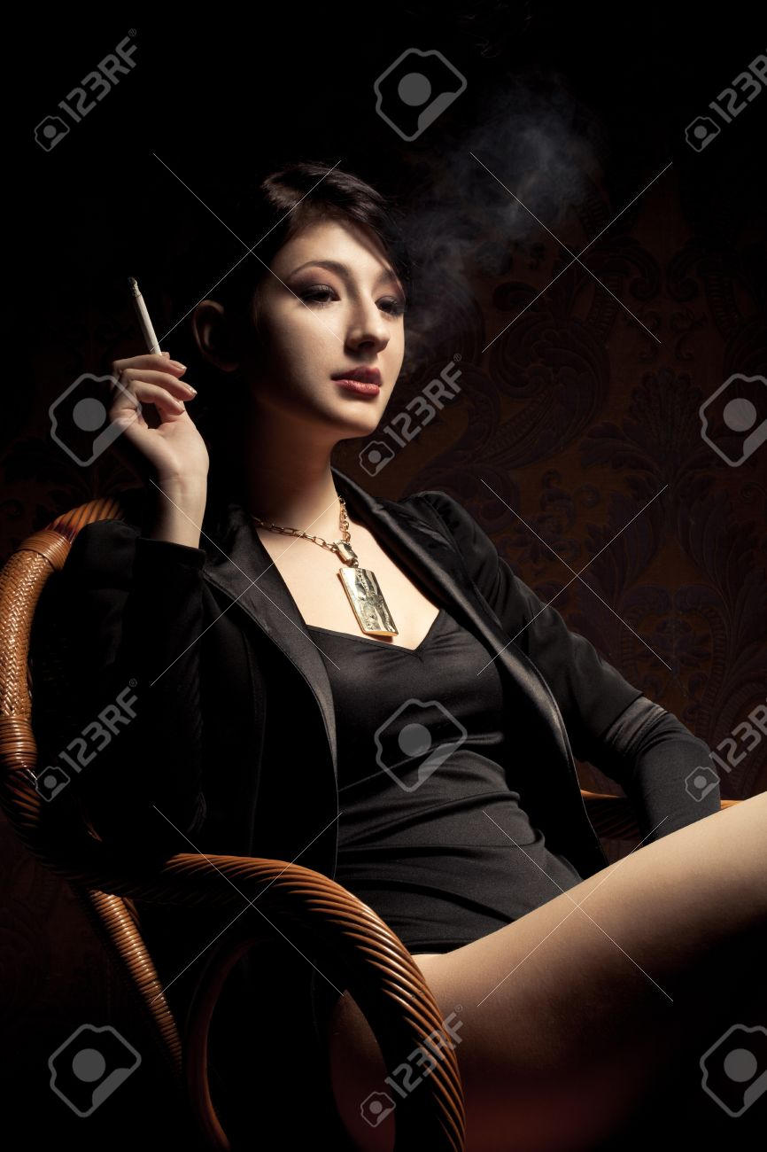 Sexy smoking brunette girl