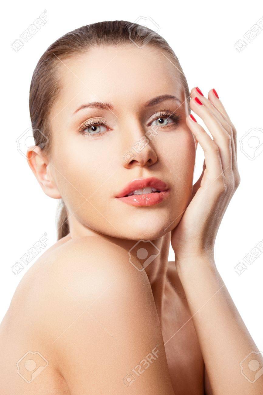 brunette caucasian woman closeup portrait over white Stock Photo - 12479616