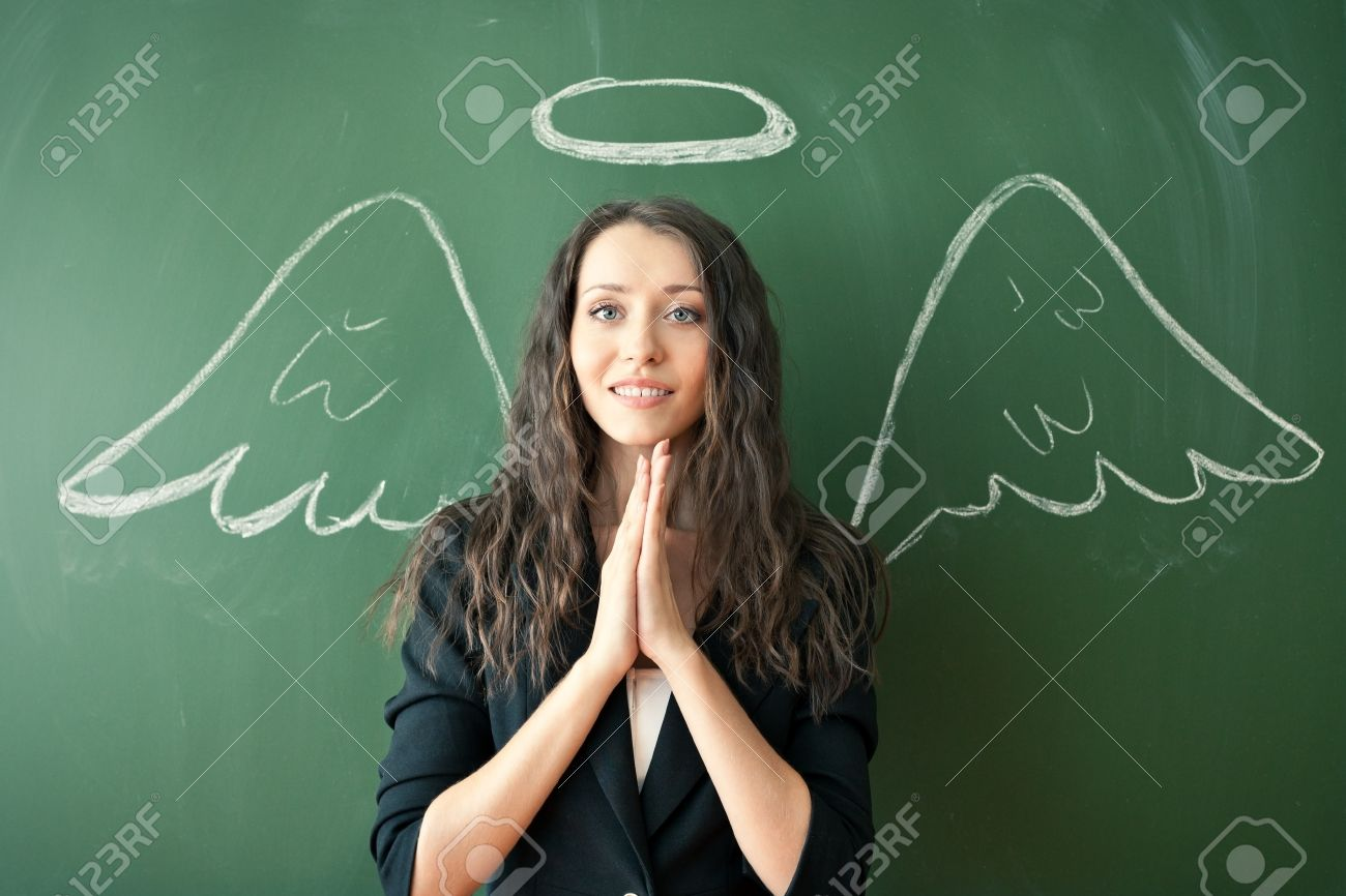 girl over chalkboard with funny angel wings and nimbus - 14903847