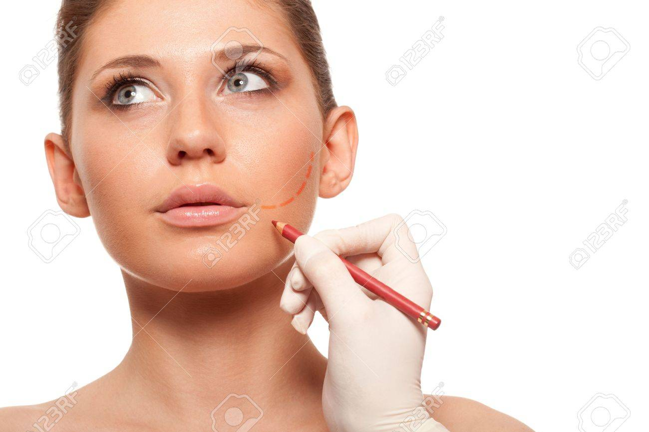 closeup woman face with surgery mark on her cheek Stock Photo - 18388198