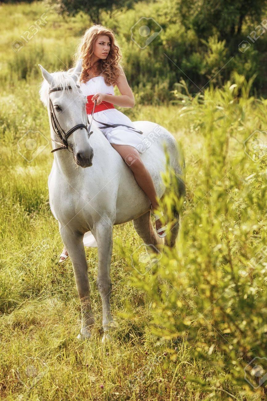Wearing White Dress Riding