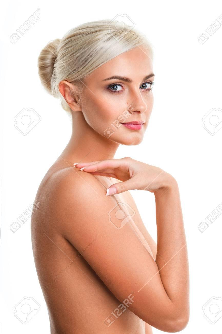 closeup Fashion photo of beautiful nude blonde woman, looking..
