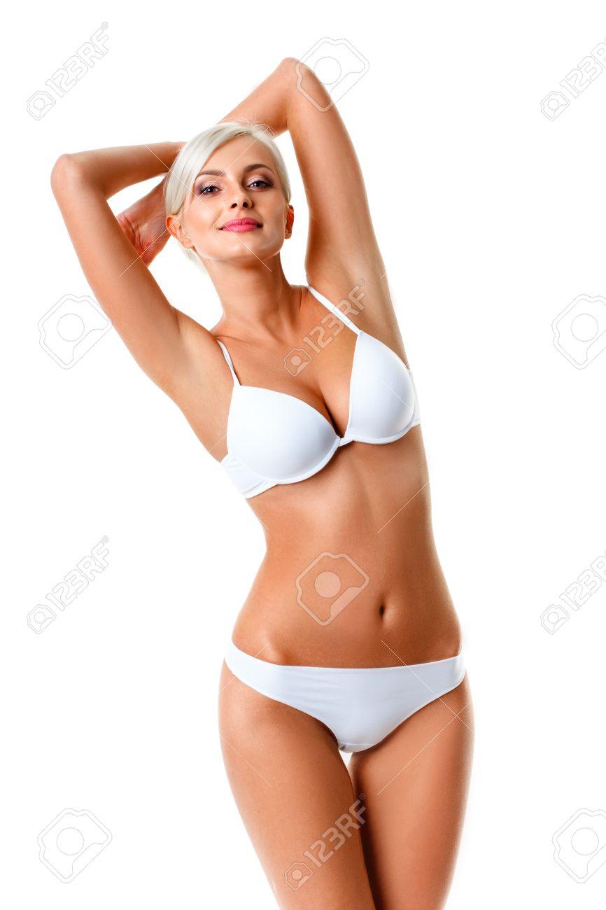 faire les courses pour Réduction chaussures de course Femme blonde en sous-vêtements blanc isolé sur blanc